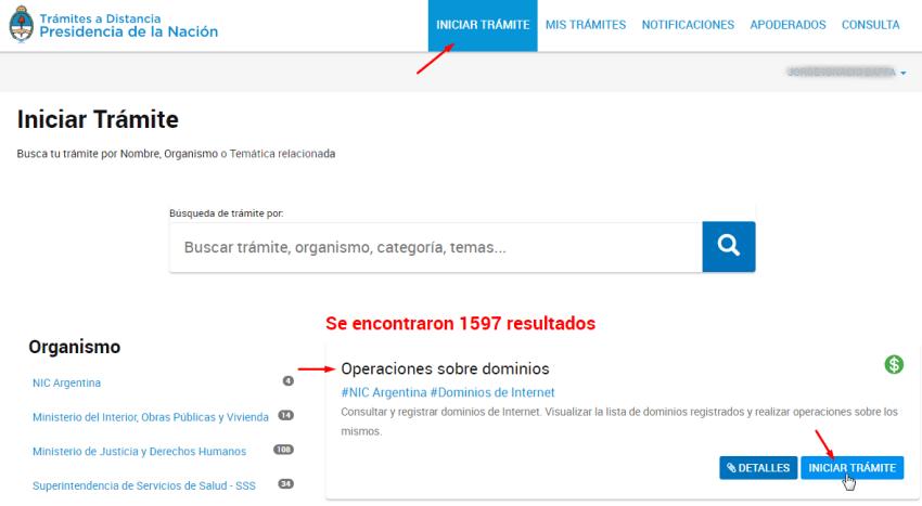delegar dominio .com.ar