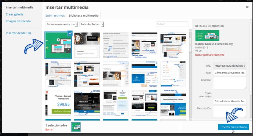 Cómo insertar una imagen en WordPress Paso 4
