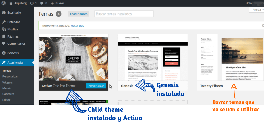 Cómo instalar Child theme de StudioPress 02