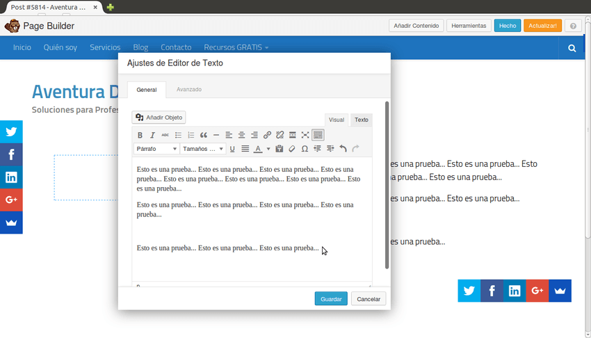 Modulo Editor de Texto de Beaver Builder