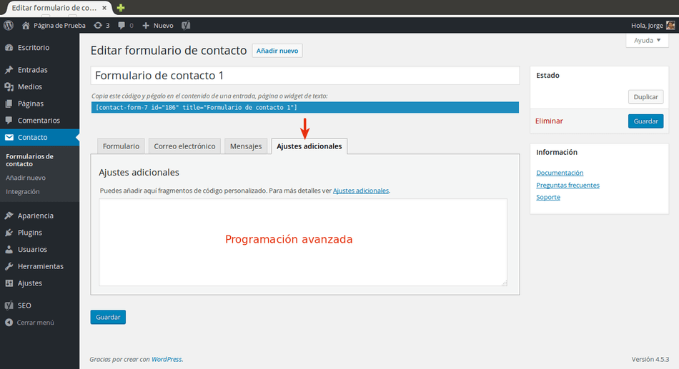 Contact Form 7 ajustes adicionales
