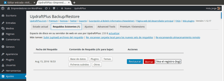 Backup de wordpress existentes en updraftplus