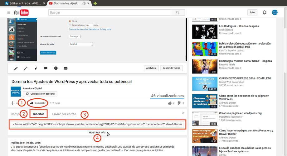 youtube obtener codigo insertar