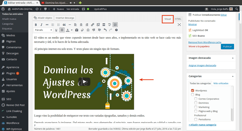 insertar videos wordpress visual