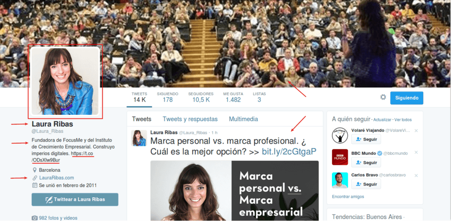 perfil twitter optimizado para conseguir seguidores