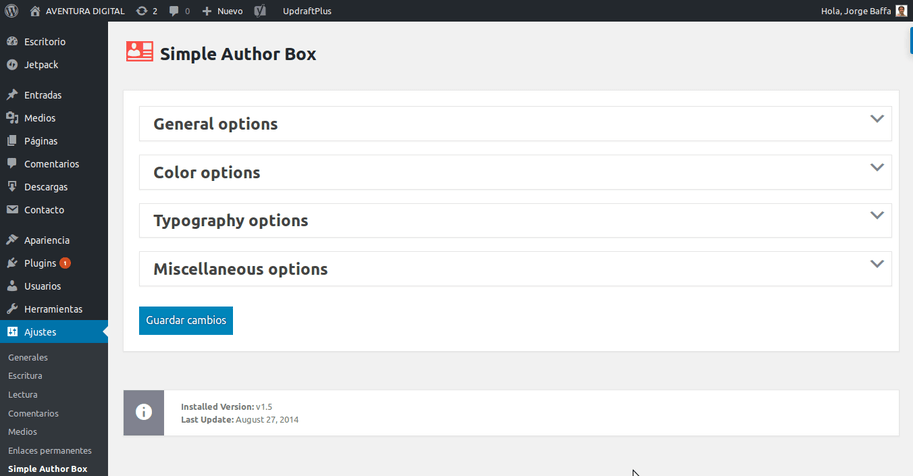 ajustes de caja de autor en simple author box