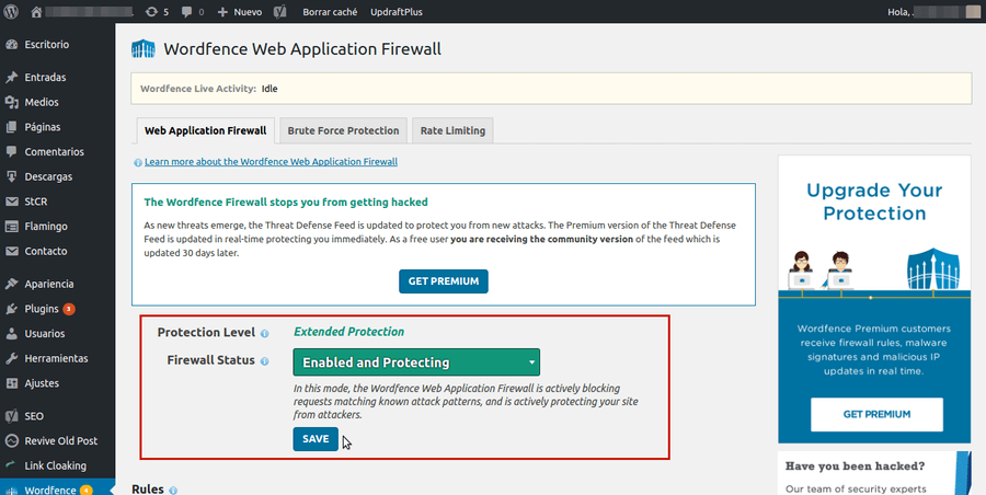 activar firewall wordfence