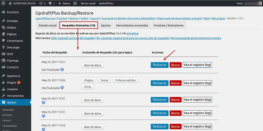 hacer backup wordpress