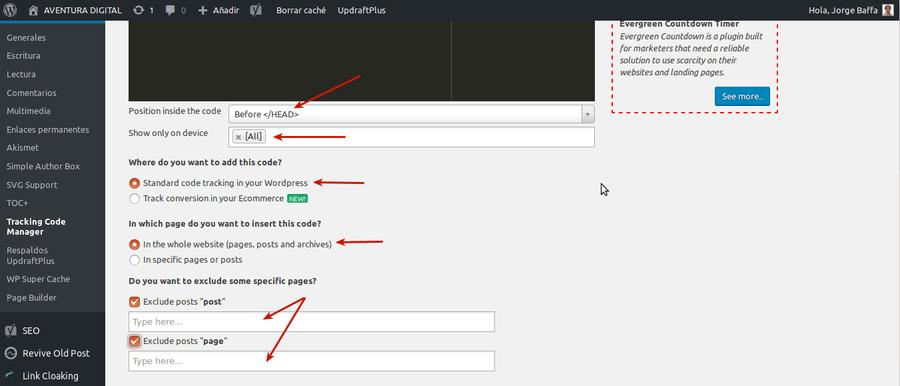 Añadir nuevo codigo en Tracking Code Manager