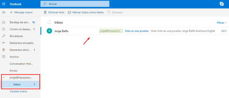 Recibir correo corporativo en Outlook.com
