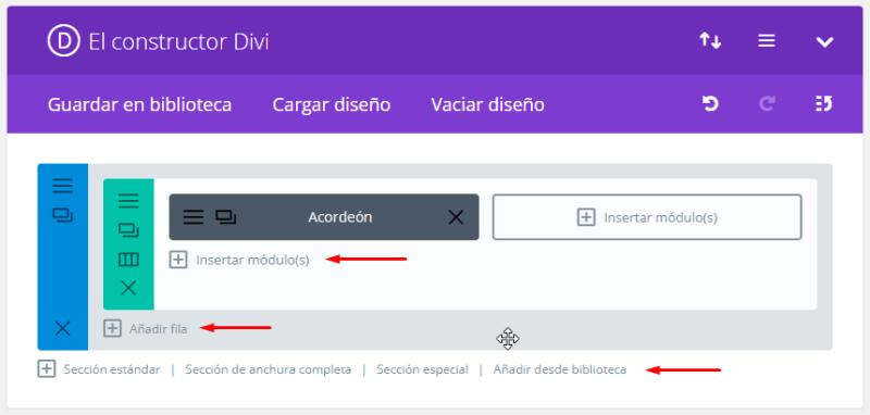 Insertando más módulos con Divi