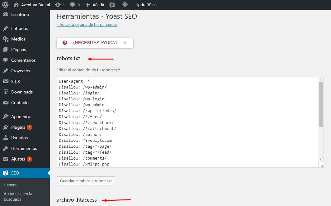 Editar robots.txt y htaccess con Yoast SEO