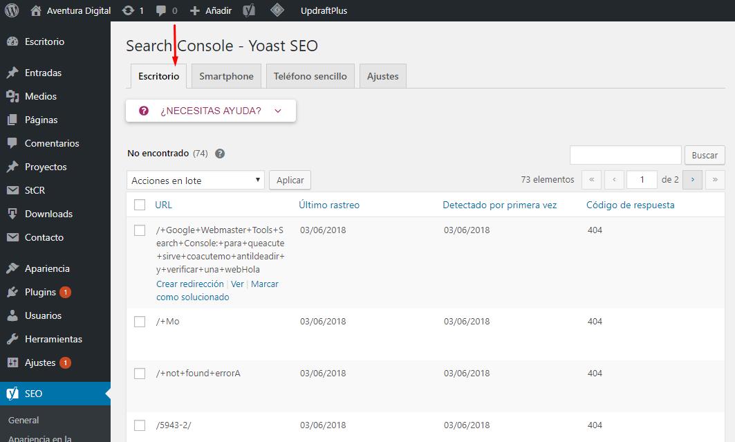 Acceso a los informes de Search Console en Yoast SEO