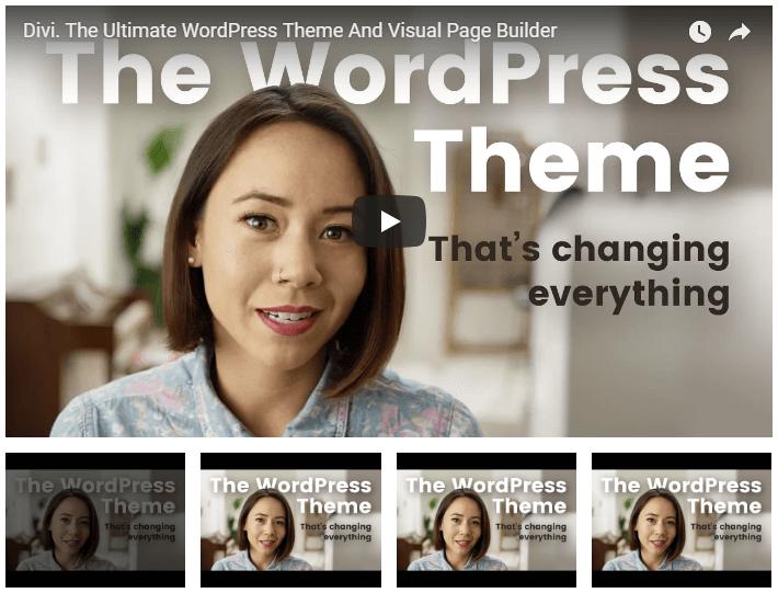 Galería de videos Divi WordPress