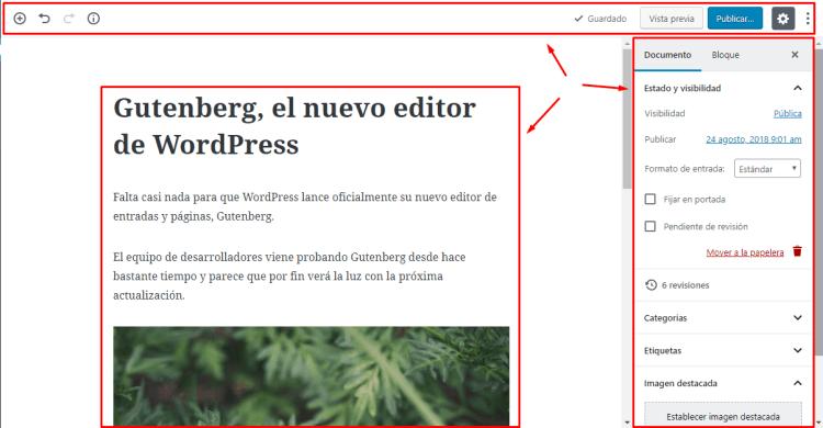 Secciones del editor Gutenberg