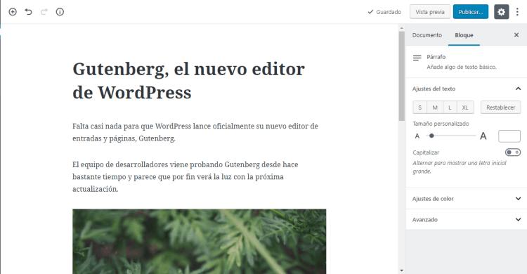 Te presento el nuevo editor Gutenberg