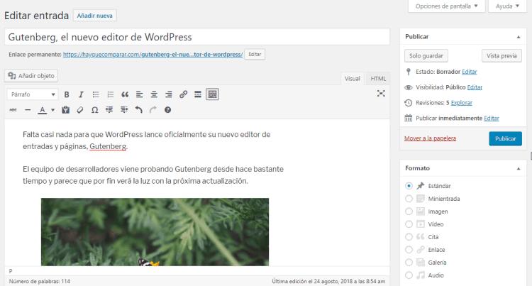 El editor clásico de WordPress