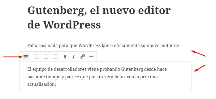 Bloques de párrafo de Gutenberg