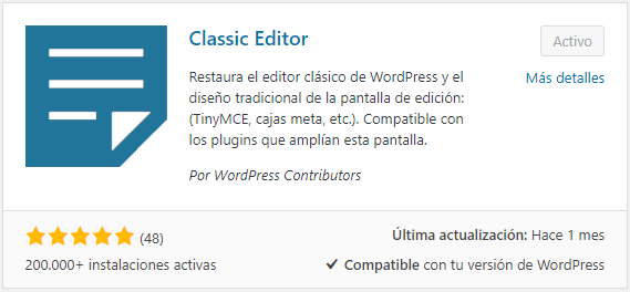 Cómo seguir con el editor clásico de WordPress