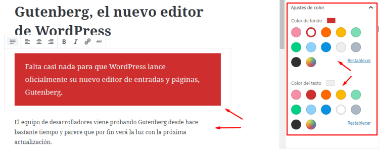 Cambiar color de texto al párrafo WordPress