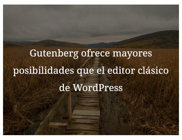 El bloque de imagen de fondo de Gutenberg