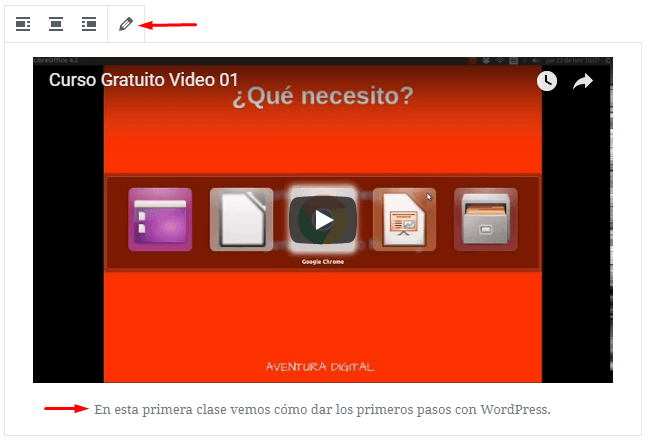 Bloque de YouTube de Gutenberg