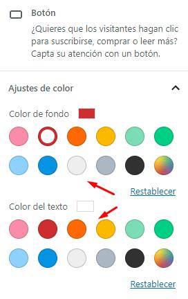 Cambiar colores de un botón de Gutenberg