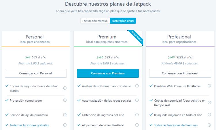 Descubre los planes de Jetpack