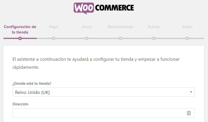 Configuración de la tienda WooCommerce