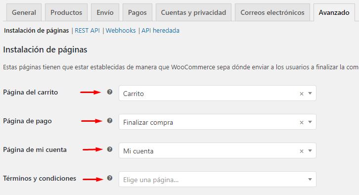 Configurar las páginas de WooCommerce
