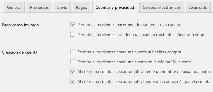 Configuración de cuentas de clientes