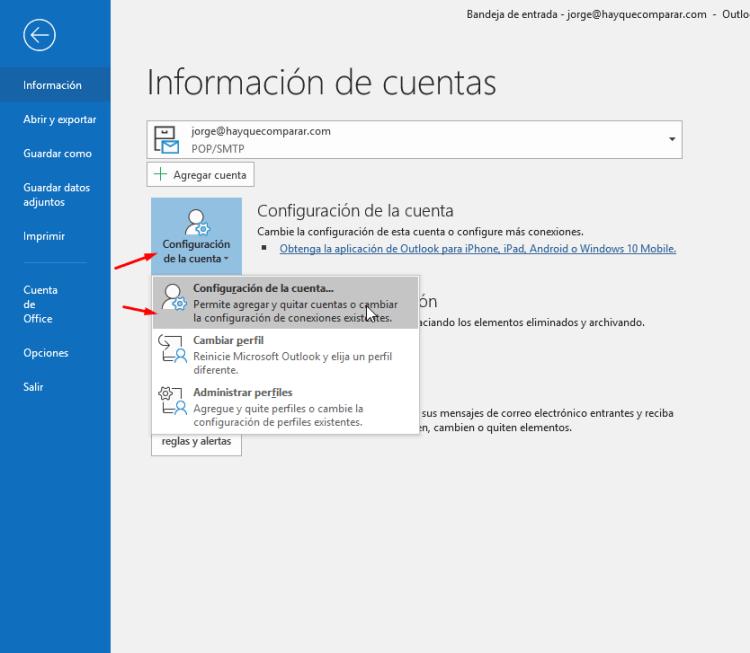 Configuración de la cuenta de correo en Outlook
