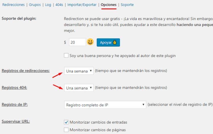 Opciones del plugin Redirection