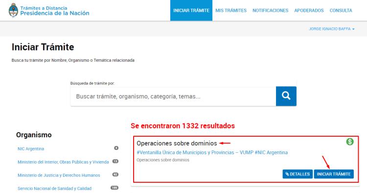 Iniciar tramite de renovación de dominio .com.ar