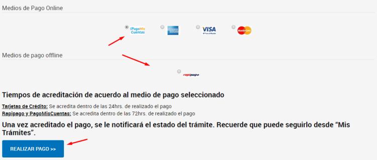 elegir medio de pago para renovar dominio com ar