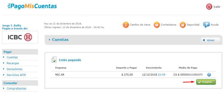 Confirmar pago de la renovación del dominio .com.ar