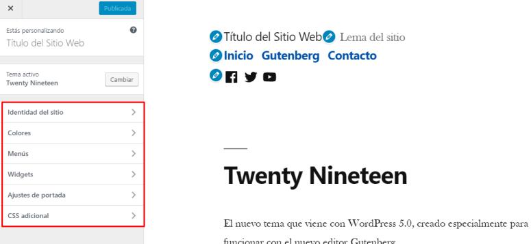 Cómo configurar Twenty Nineteen