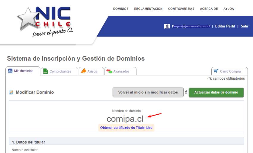cambiar DNS dominio CL