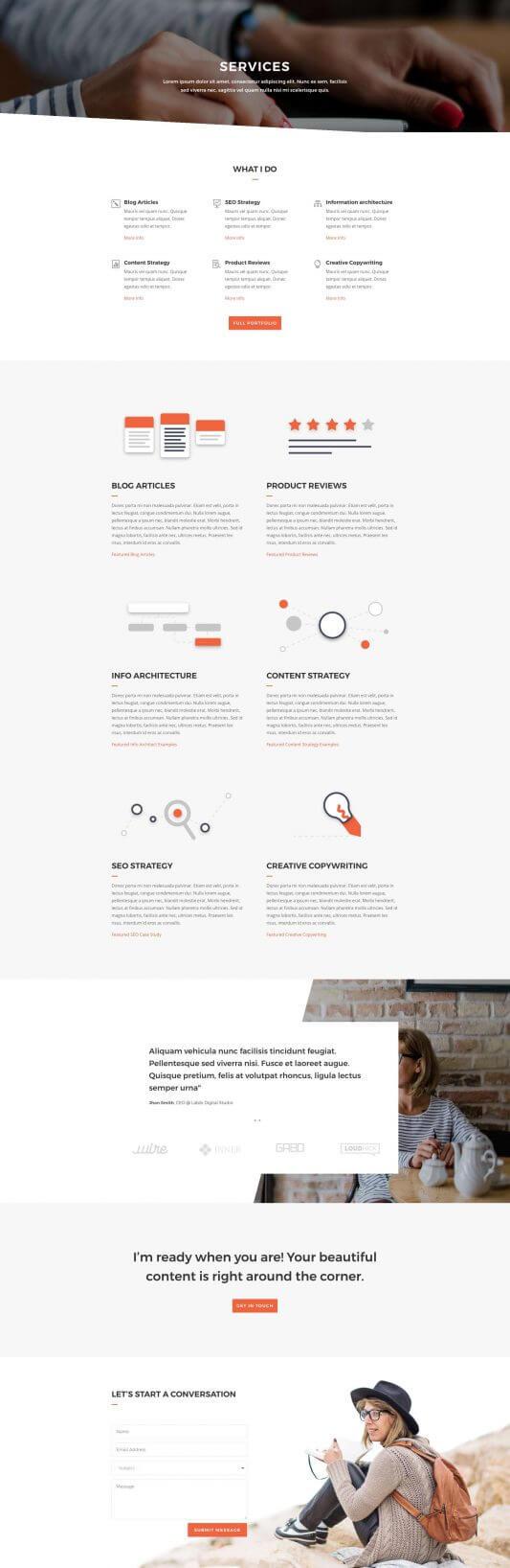 Servicios del layout Divi