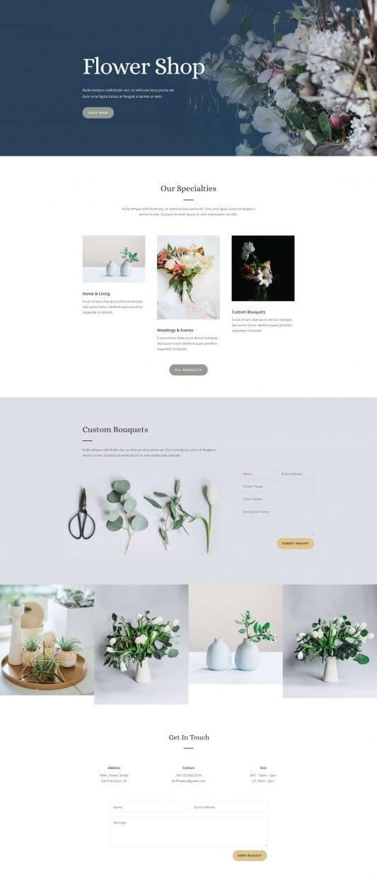 Layout Divi para Floristas y Tiendas de Flores
