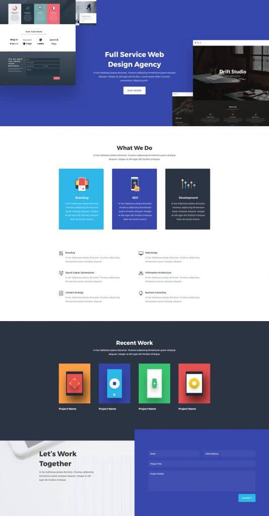 Layout Divi para Agencias de Diseño Web
