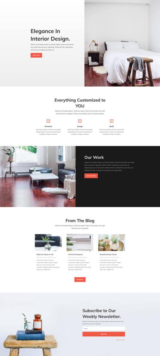 Layout Divi para Diseño de Interiores