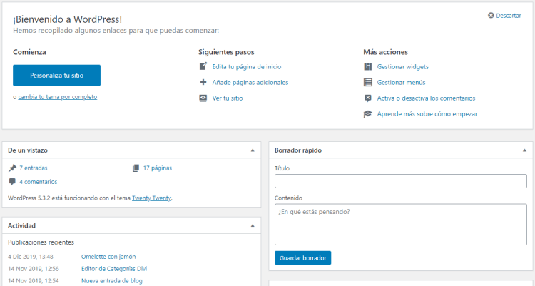 El Escritorio de WordPress – Manual de WordPress