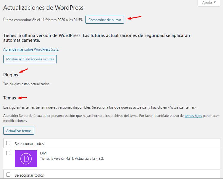 Cómo actualizar WordPress – Manual de WordPress